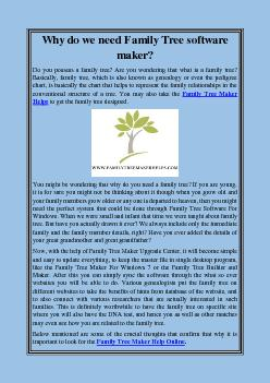 Why do we need Family Tree software maker?
