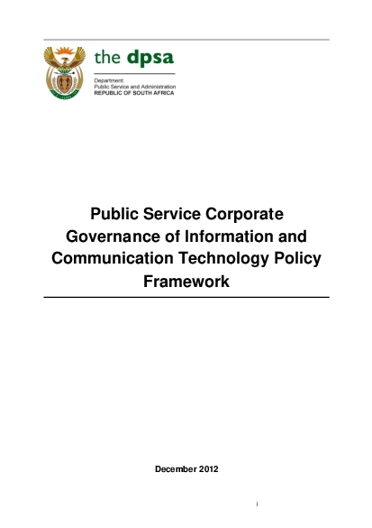 Public Service Corporate Governance of Information and Communication T