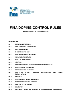 FINA DOPING CONTROL RULES