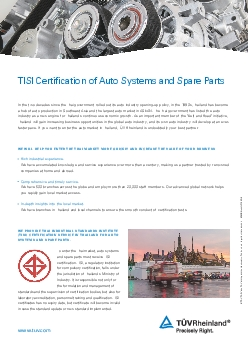 TISI Certification of Auto Systems and Spare PartsIn the two decades s