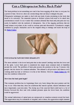 Can a Chiropractor Solve Back Pain?