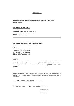 Annexure FORM OF COMPLAINTTO BE LODGED  WITH THE BANKING OMBUDSMAN FOR OFFICE USE ONLY Complaint No