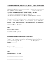 AUTHORIZATION FORM IN FAVOUR OF VFS VISA APPLICATION C