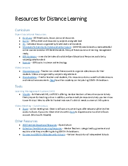 Resources for Distance Learning