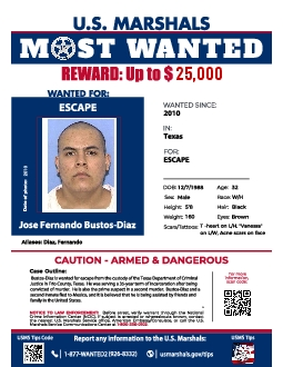 US MARSHALS REWARD Up to S WANTED FOR WANTED SINCE 2010 IN Texas FOR E