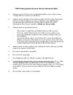 CEPO Undergraduate Research Abstract Submission RulesAbstracts must be