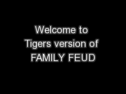 Welcome to Tigers version of FAMILY FEUD