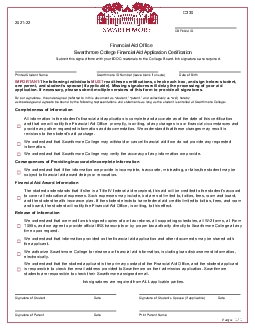 Financial Aid OfficeSwarthmore College Financial Aid Application Certi