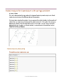 Modal Analysis for 3 pendulum with springs problem