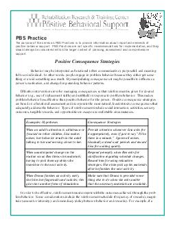 PBS Practice Positive Consequence Strategies Behavior may be interpreted as functional often communicative purposeful and meaning ful to an individual