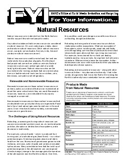 heat light and power Natural resources also are the