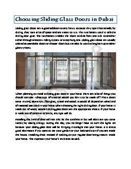 Choosing Sliding Glass Doors in Dubai