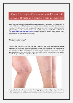 Does Vasculyse Treatment and Vitamin K Creams Works as a Spider Vein Treatment?