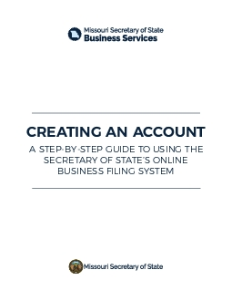 The homepage for the business services online filing system is picture