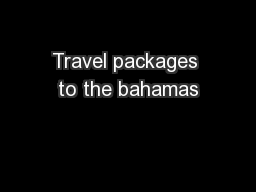 Travel packages to the bahamas