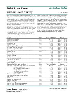 Iowa Farm Custom Rate Survey File Ab FM b Revised March  Ag Decision Maker Many Iowa farmers perform custom machinery work for other producers and landowners while others hire custom work done PowerPoint PPT Presentation