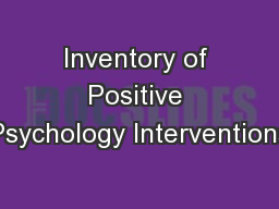 Inventory of Positive Psychology Interventions