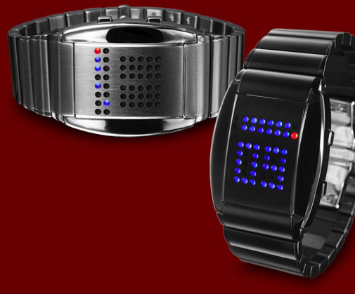 Silver or Black watches with blue and red LED