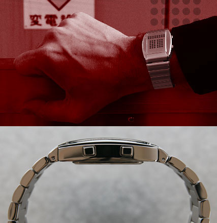 R75 LED watch. Shown on wrist and profile view.