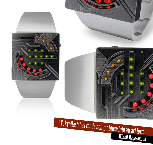 LED watch black and silver with multi-color LED