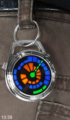 LED Pocket watch worn on jeans belt
