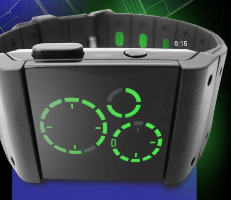 Kisai Satellite LED Watch. Black with green lights.