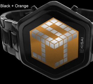 3d unlimited black orange lcd watch