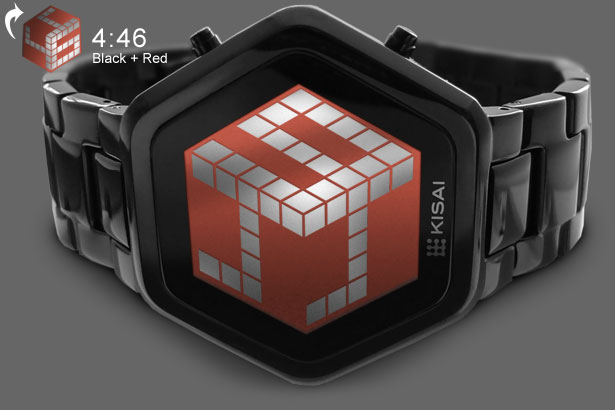 3D unlimited black watch with red LCD