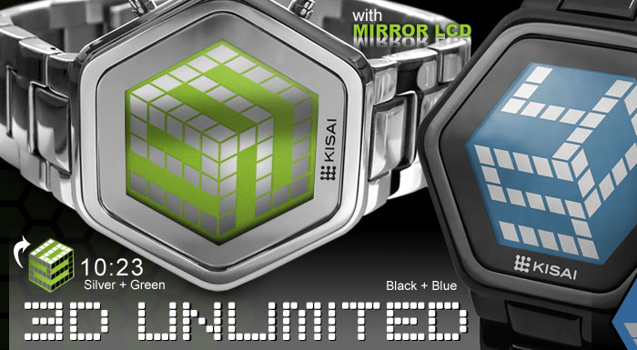 3D Unlimited LCD watch with Mirror Display and 3D effect