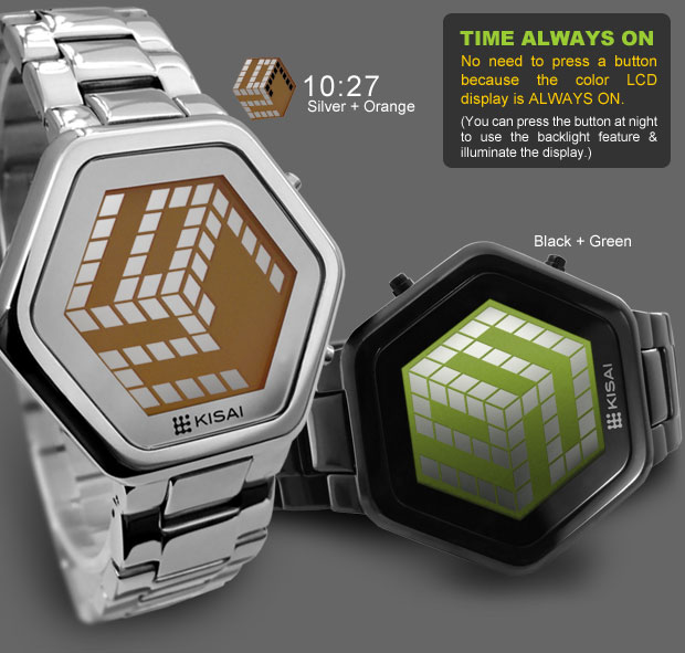 3D Unlimited Silver/Orange and Black/Green LCD watch with 3D display