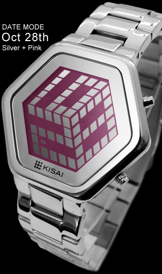 3D Unlimited silver and pink lcd watch