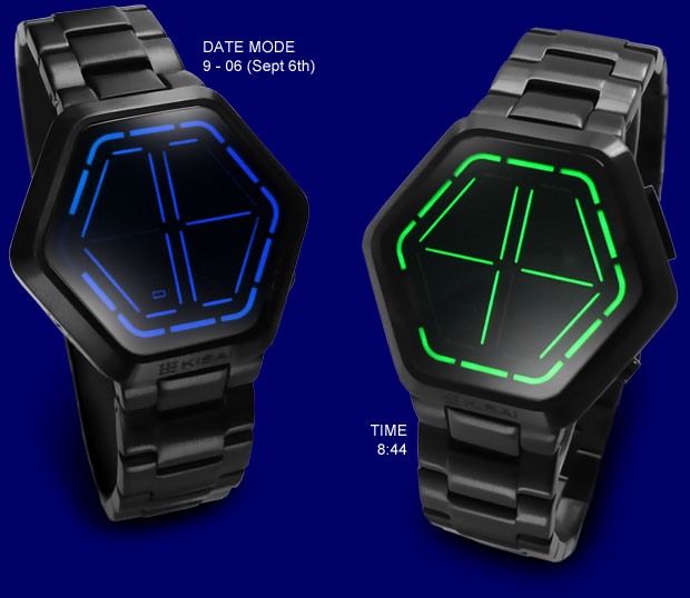 blue and green led nightvision watch