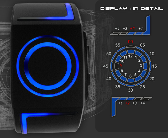 Kisai Seven Blue LED wristwatch