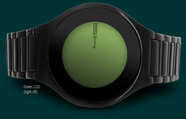 On Air wristwatch Black with green LCD version