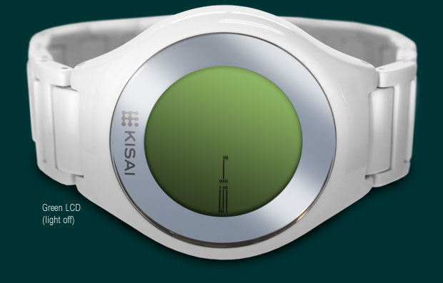 On Air wristwatch White Acetate with green LCD version