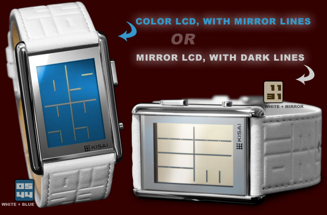 Blue or Mirror LCD with White leather strap