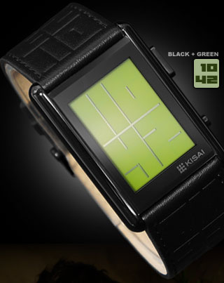 Stencil Black watch with Green LCD