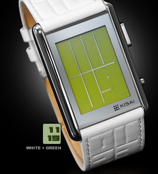 Stencil White leather strap watch with Green LCD