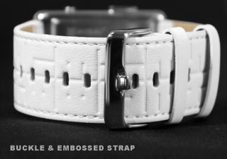 Buckle and embossed strap