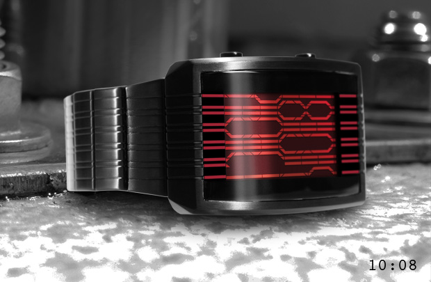 Online LCD watch black and red