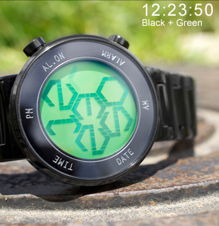 green LCD IP black finish Zone watch