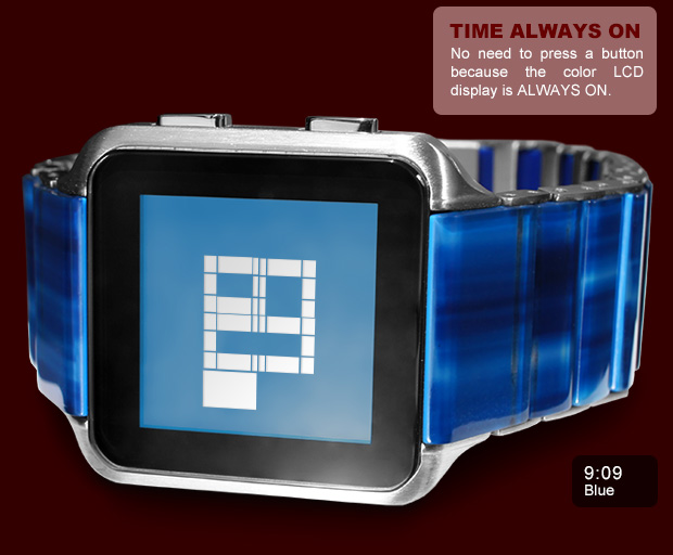 LCD watch Kisai Logo in Blue Acetate