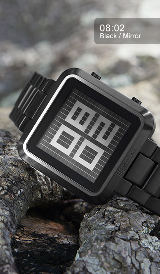 Maze LCD watch black with mirror LCD