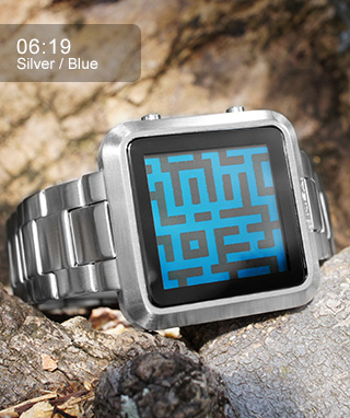 Kisai Maze watch with blue LCD