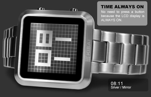 Maze Silver Mirror LCD watch (Time 08:11) Time always ON