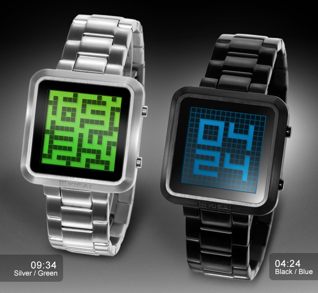 Maze LCD watch. Silver/Green and Black/Blue