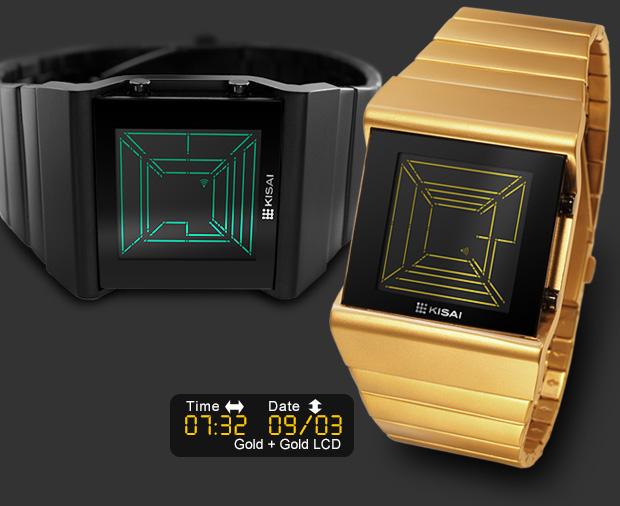 Black or Gold watch : Space Digits with Colour LCD screen