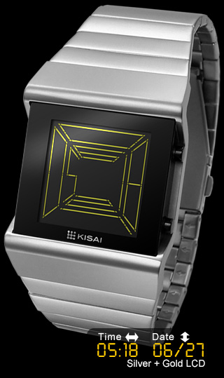 Space Digits Silver with Gold LCD
