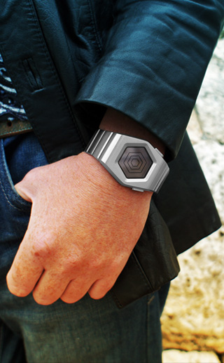 Spider LCD watch on wrist
