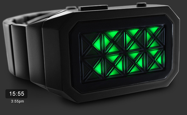 Kisai Adjust Black & Green LED watch
